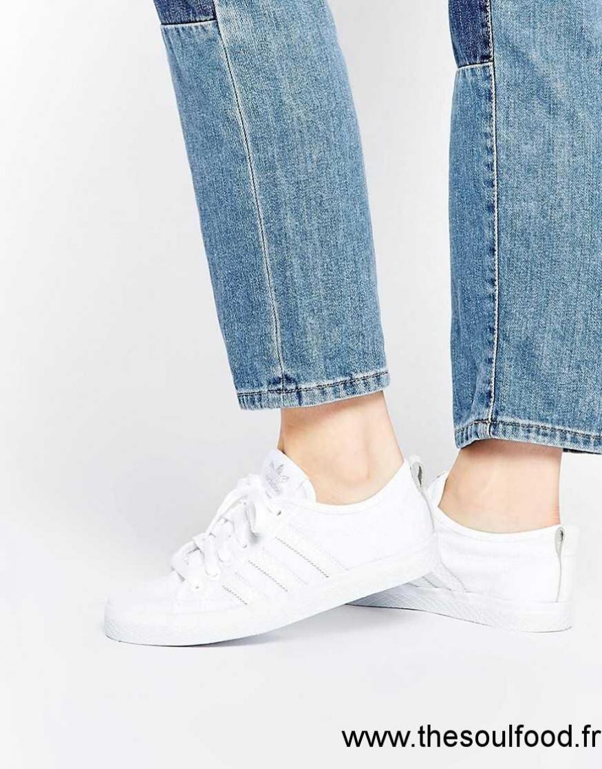 Adidas Baskets Tissu Blanc Femme Baskets Chaussures femme