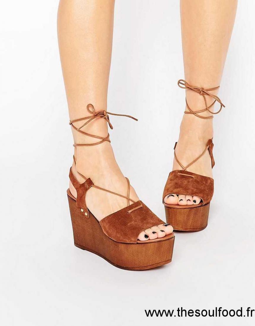 Asos , Too Good , Sandales Compensées Lacées En Daim Femme Marron Chaussures