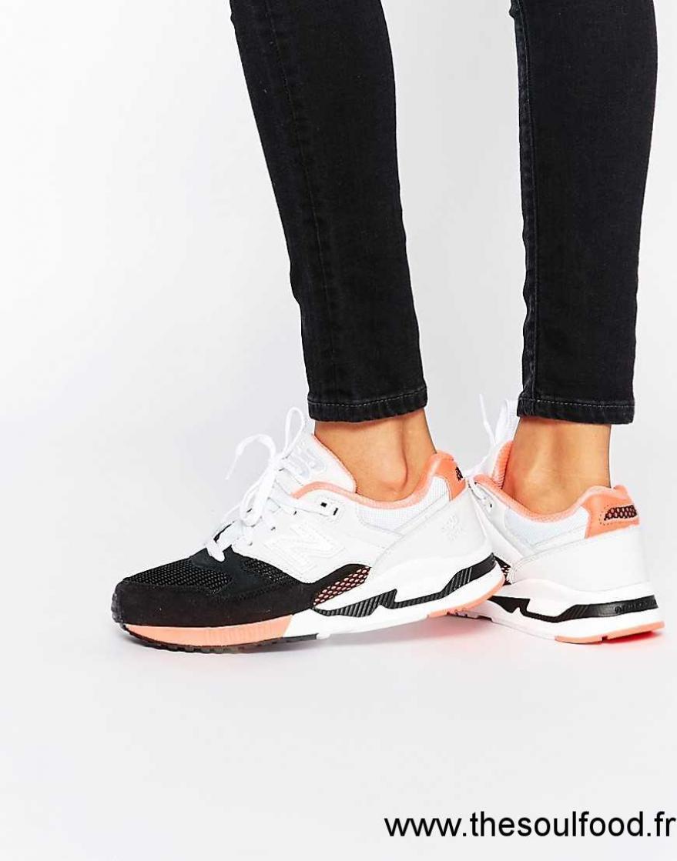 d90fc693f921 New Balance - 530 - Baskets - Noir Blanc Et Rose Femme Noir Blanc Rose Fluo  Chaussures