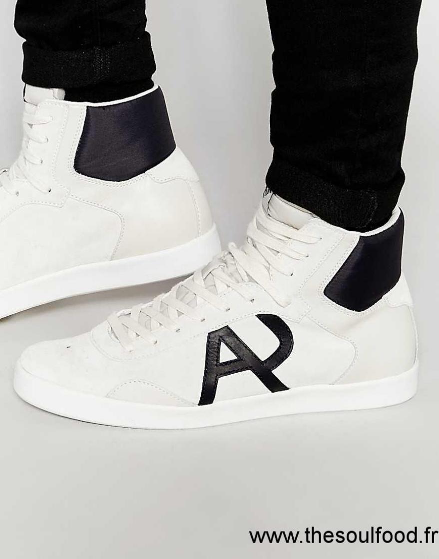 93540cbe901 Armani Jeans - Baskets Montantes À Logo Homme Blanc Chaussures ...
