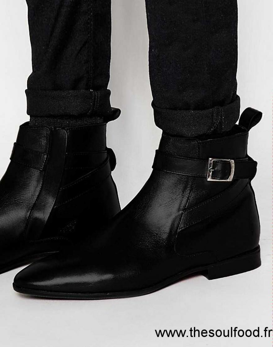 asos bottines en cuir verni avec boucle noir homme noir chaussures asos france lw31001370. Black Bedroom Furniture Sets. Home Design Ideas