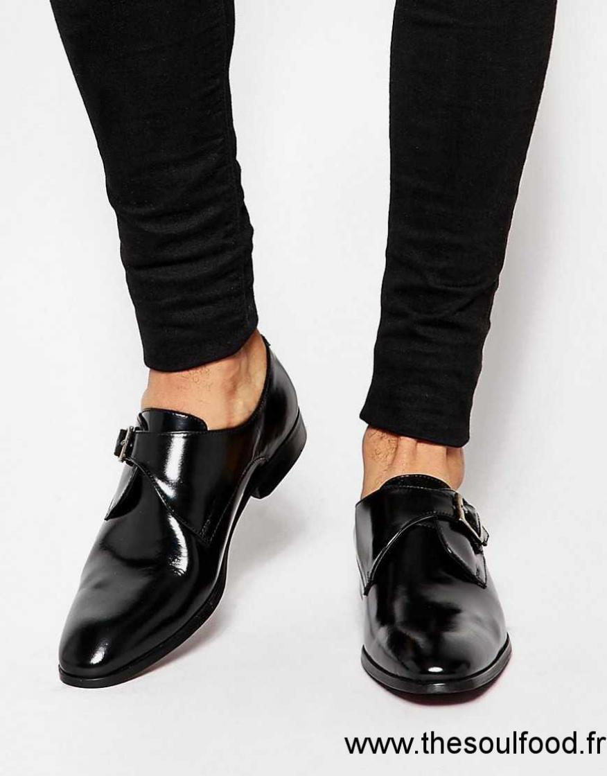 asos chaussures derby en cuir avec boucle noir homme noir chaussures asos france xx18001511. Black Bedroom Furniture Sets. Home Design Ideas
