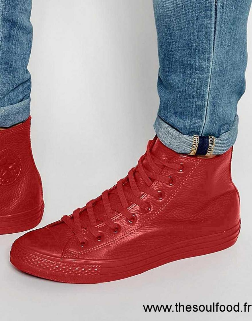 converse cuir homme rouge