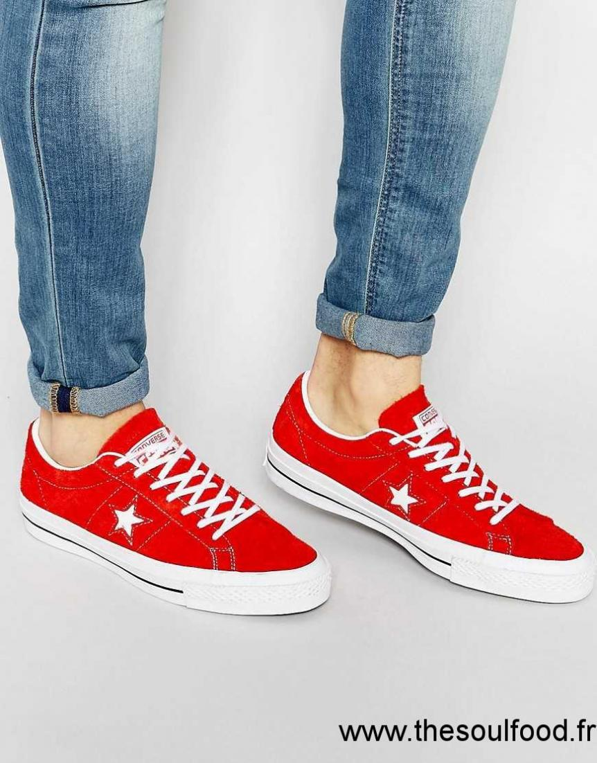 1b93275d9f7 Converse - Star Player One Star 151339c - Baskets En Daim - Rouge Homme  Rouge Chaussures