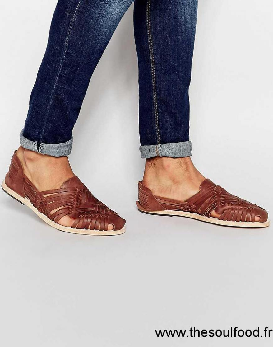 Hudson Homme Chaussures Matto Sandales Fauve Cuir Tressé En Yb7vgyf6