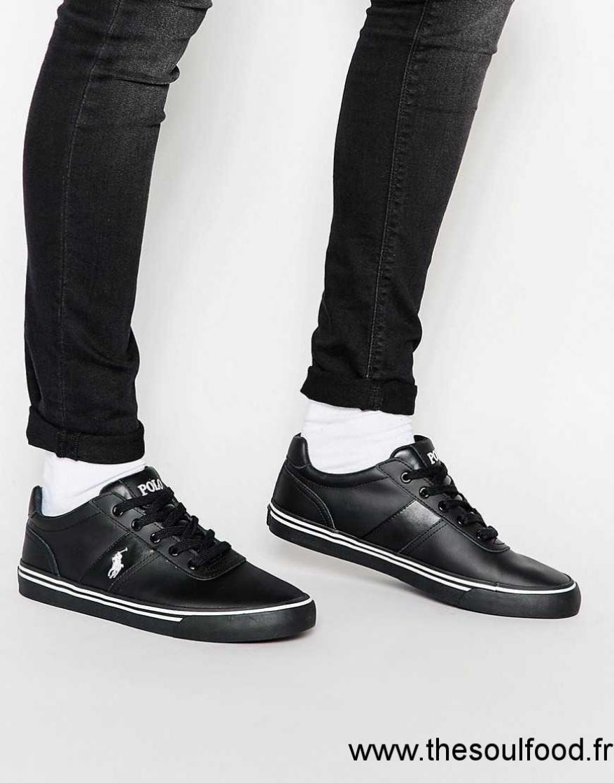 Polo Cuir Lauren Noir Baskets Chaussures En Homme Ralph Hanford eWEYD9IH2