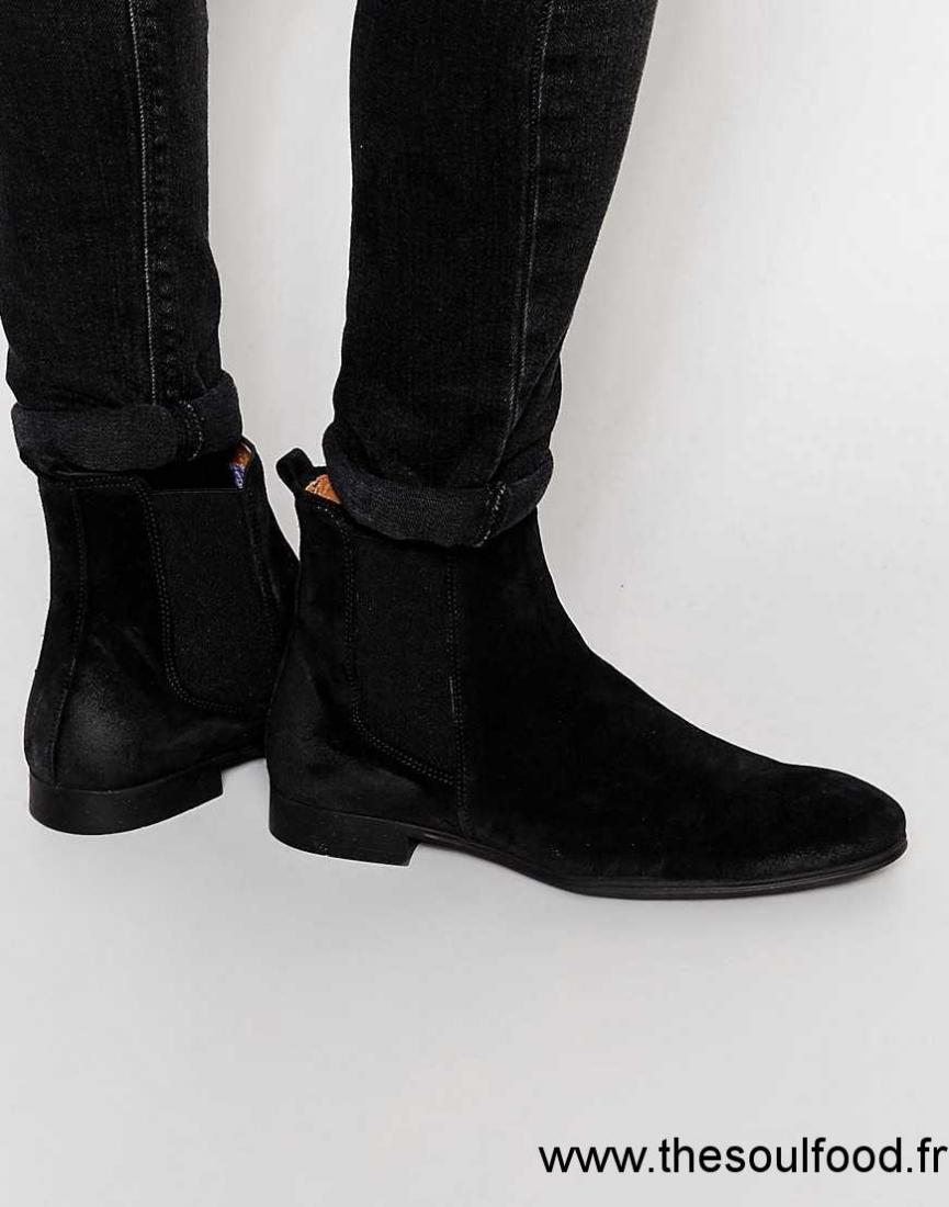 53c411242cf050 Selected Homme - Yannick - Bottines Chelsea En Daim Homme Noir Chaussures |  Selected Homme France CV42003985