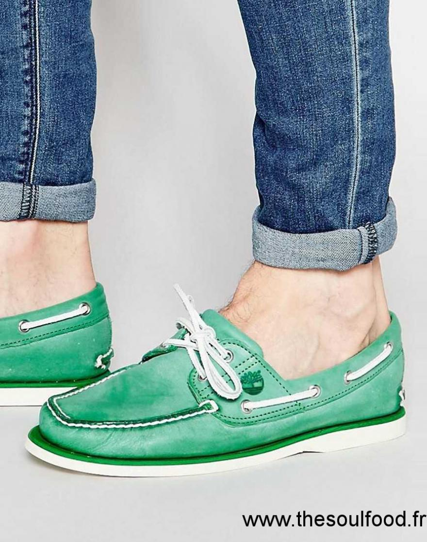 Vert Timberland Homme En Bateau Cuir Chaussures Classiques 0nkOPw